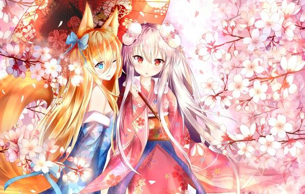 Picture flowers, girls, umbrella, anime, Girls Frontline