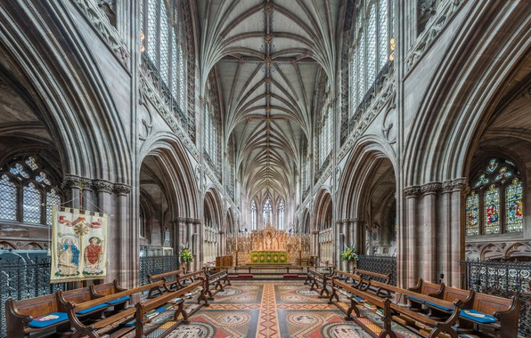Picture interior, Staffordshire, UK, Diliff, Lichfield Cathedral, High Altar from choir