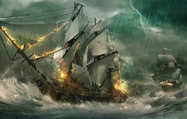 Picture sea, wave, storm, lightning, ships, sailboats, frigates, sea battle, Julian Calle
