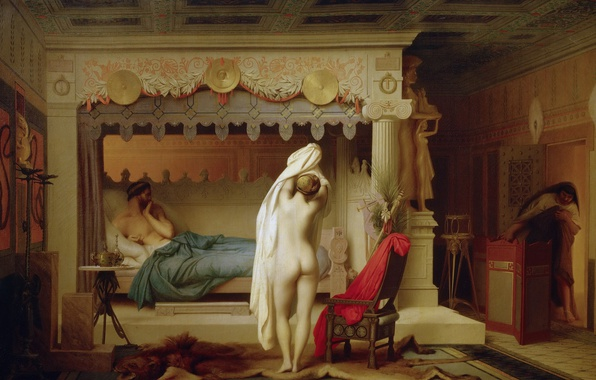 Picture erotic, interior, picture, mythology, Jean-Leon Gerome, King Candaul