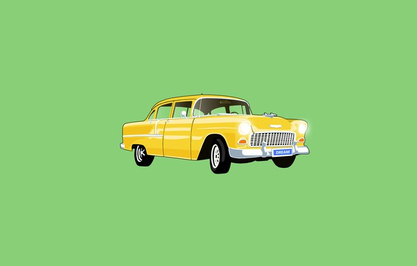 Picture car, dream, yellow, old car