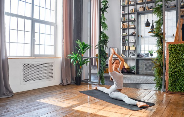 Picture girl, pose, room, Windows, plants, Mike, figure, hairstyle, yoga, Mat, brown hair, fitness, twine, on …