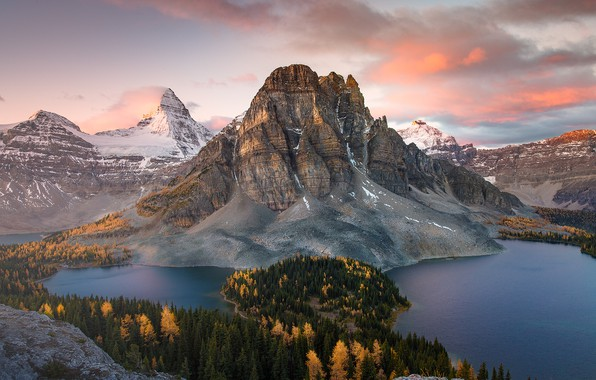 Picture autumn, forest, mountains, mountain, lake, Canada