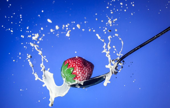 Picture squirt, milk, strawberry, berry, spoon