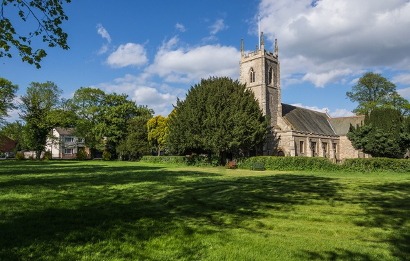 Picture greens, summer, the sky, grass, the sun, clouds, trees, glade, village, Church, UK, benches, the …