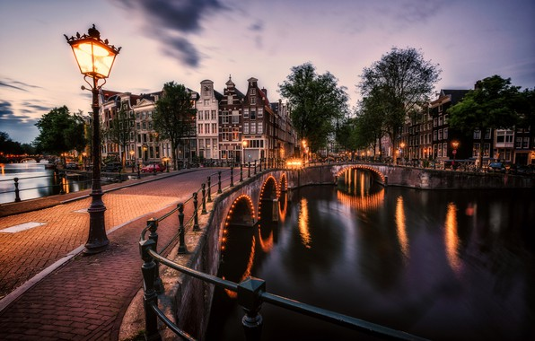 Picture bridge, lights, building, home, the evening, Amsterdam, lantern, channel, Netherlands, Amsterdam, Netherlands
