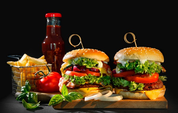 Picture greens, cheese, bow, vegetables, tomatoes, sauce, hamburger, Patty, buns