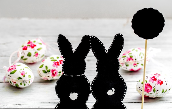 Picture flowers, Easter, happy, flowers, spring, Easter, eggs, bunny, decoration, pastel, the painted eggs