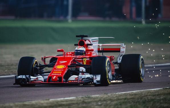 Picture car, Ferrari, sport, red, Formula 1, race, Kimi Raikkonen Also, competition, sparks, Kimi Raikkonen
