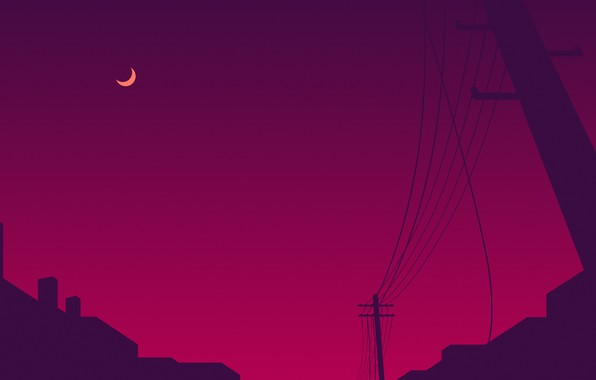 Photo wallpaper purple, night, the city, lilac, pink, the moon, posts, wire, post, moon, night, town