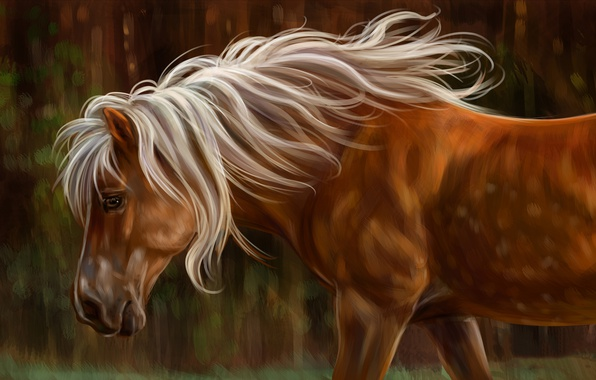Photo wallpaper horse, watercolor, wallpaper., gouache, mane dawn nature, painting, painting painting, horse, art, pencil, oil, horse