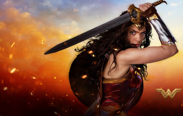 Picture cinema, fire, flame, sword, Wonder Woman, armor, movie, ken, blade, brunette, film, shield, warrior, DC …