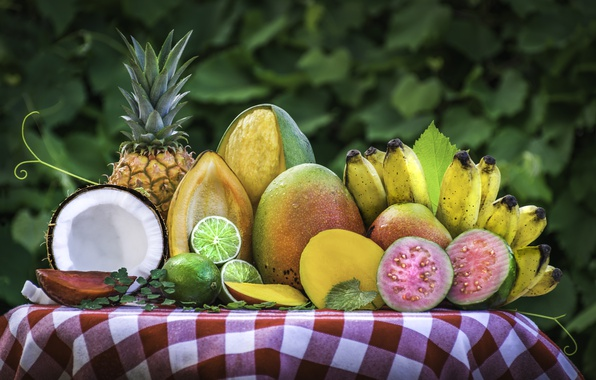 Picture coconut, lime, fruit, mango, pineapple, banana, tropical, feijoa