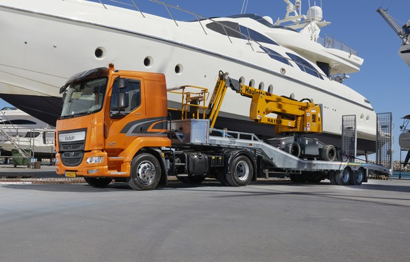 Picture the sky, orange, yachts, pier, DAF, tractor, DAF, machinery, the trailer, 4x2, Euro6, DAF LF …