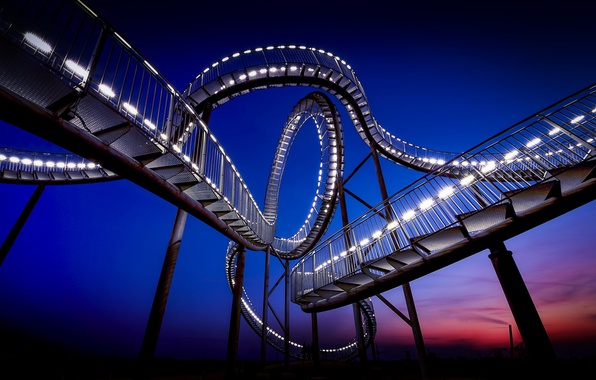 Picture night, Park, slides, Germany, blue sky, Duisburg