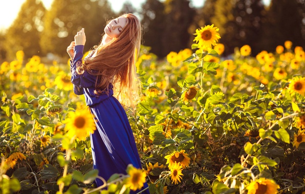 Picture summer, girl, sunflowers, dress, Maria Lazareva