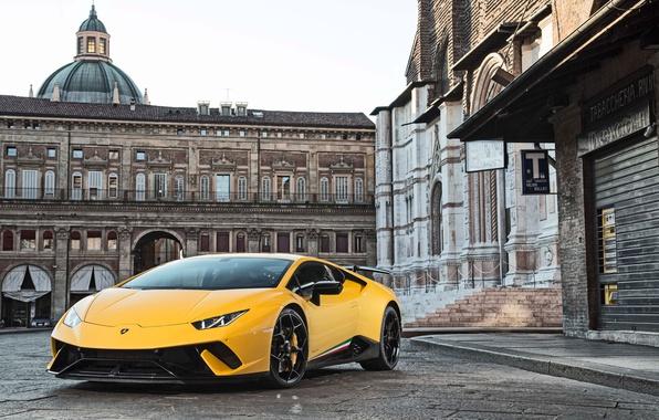 Picture city, Lamborghini, yellow, Huracan, Huracan Performante, Lamborghini Huracan Performance
