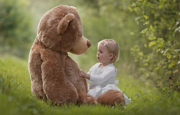Picture summer, nature, toy, bear, girl, plush, child