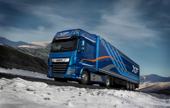 Picture winter, road, the sky, clouds, snow, mountains, blue, Norway, Norway, DAF, tractor, DAF, Super Space …