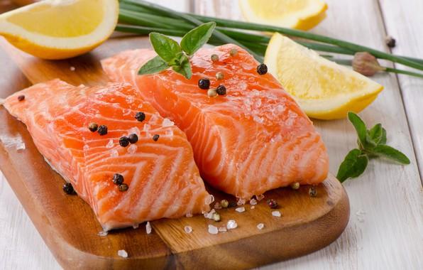 Picture lemon, fish, spices, salmon