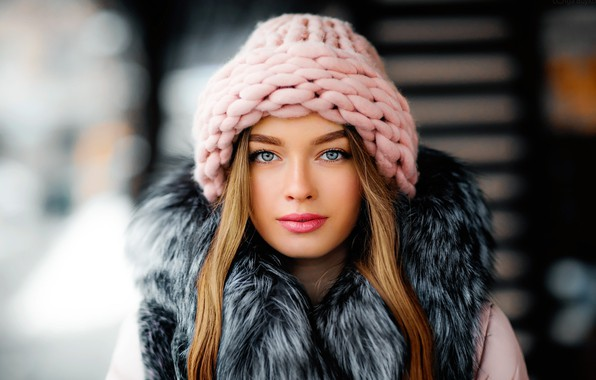 Picture girl, long hair, photo, photographer, blue eyes, model, beauty, bokeh, lips, face, blonde, fur, portrait, …
