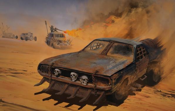 Picture sand, machine, the film, dust, art, skull, Mad Max
