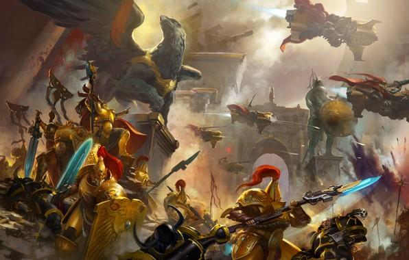 Wallpaper artwork, ultramarines, Warhammer 40 000, Black