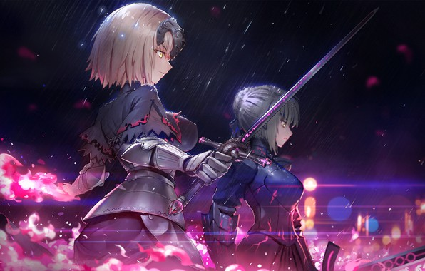 Picture weapons, girls, sword, anime, art, Fate/Grand Order, Fate/Grand Campaign