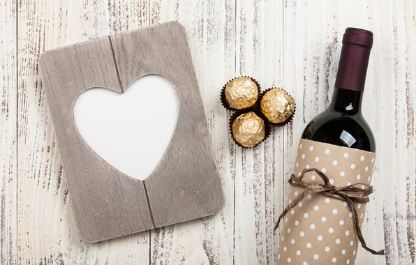Picture love, gift, wine, heart, bottle, candy, love, wood, wine, romantic, hearts, chocolate, Valentine's Day, gift