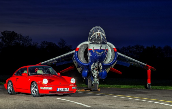 Picture auto, the evening, Porsche, fighter, the airfield