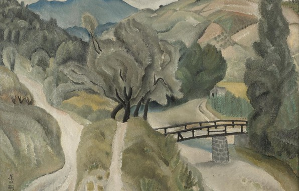 Photo wallpaper trees, bridge, river, hills, Landscape, 1918, trails, Tsuguharu, Fujita