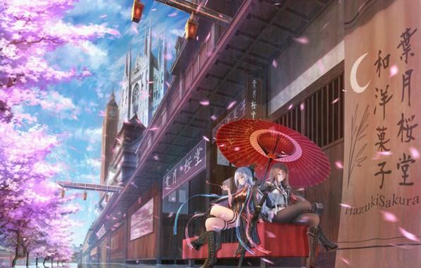 Picture the city, girls, home, tube, katana, umbrella, anime, petals, Sakura, art