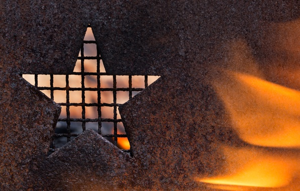 Picture macro, metal, fire, star, rust, grille
