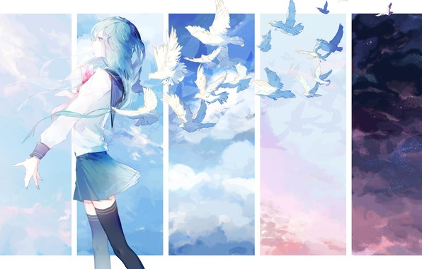 Picture girl, birds, art, pigeons, maizono sayaka, dangan-ronpa