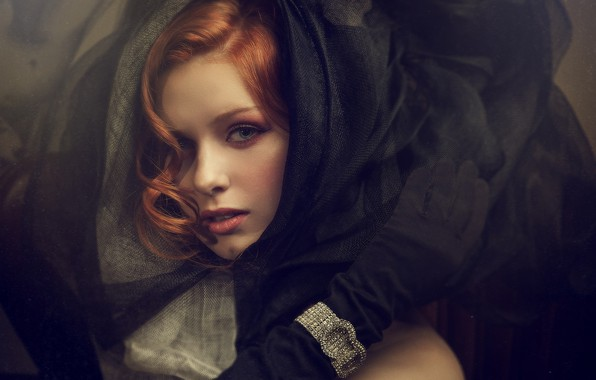 Picture look, girl, face, style, hand, gloves, bracelet, red, redhead, curls