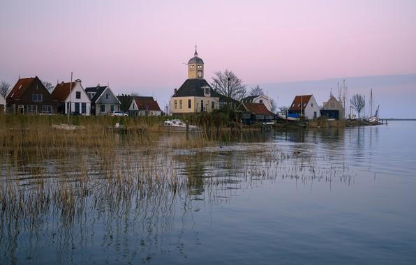Picture river, shore, home, boats, Church, Netherlands, Durgerdam