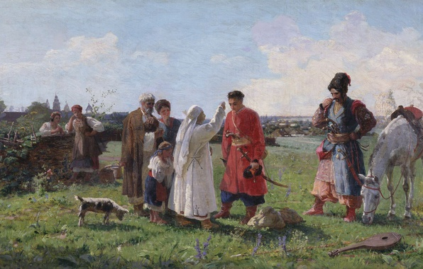 Picture oil, Canvas, Cossacks, Afanasiy SLASTION, Farewell to the Sich