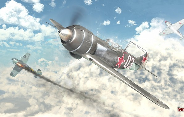 Picture the sky, clouds, battle, aircraft, heavenly hunter (La-7)