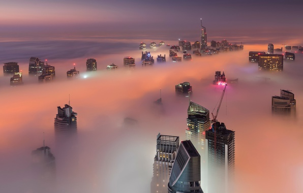 Picture light, night, the city, fog, the evening, Dubai, UAE