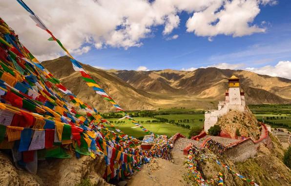 Picture mountains, tower, China, Tibet, Palace, Yungbulakang Palace