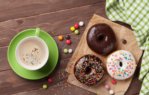 Picture coffee, donuts, cup, coffee, donuts