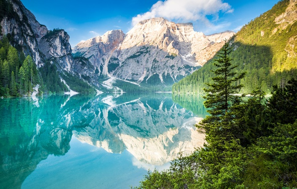 Picture forest, clouds, reflection, trees, mountains, lake