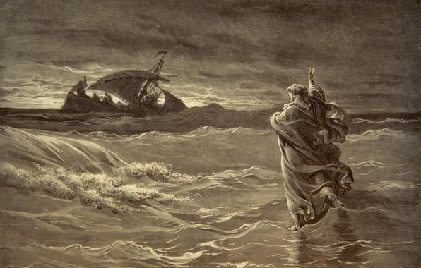 Picture wave, ship, miracle, jesus walks on water, konrad witz
