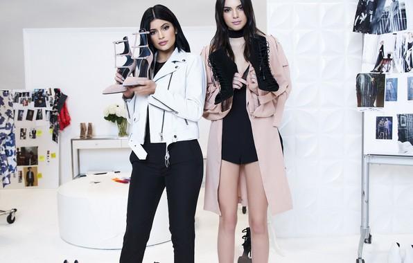 Picture girls, model, advertising, jacket, shoes, Kylie Jenner, Kendall Jenner