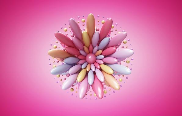 Picture abstract, flower, art, artist, rendering, digital art, artwork, simple background, pink background, Links