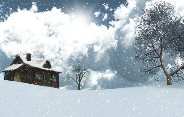 Photo wallpaper winter, the sky, the sun, clouds, snow, trees, landscape, snowflakes, house, graphics, 3D
