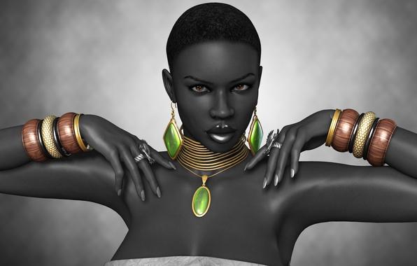 Picture girl, rendering, hands, ring, black, decoration, bracelets, Afro