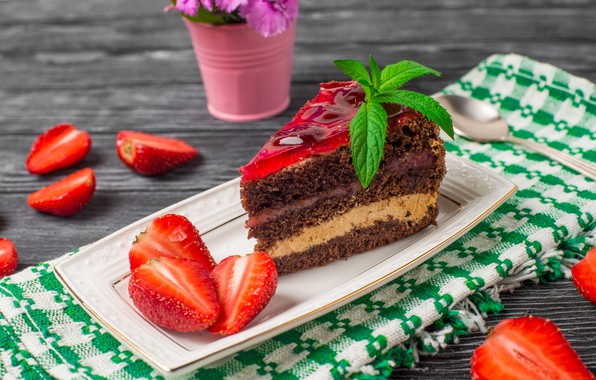 Picture chocolate, strawberry, cake, mint, cream, jelly