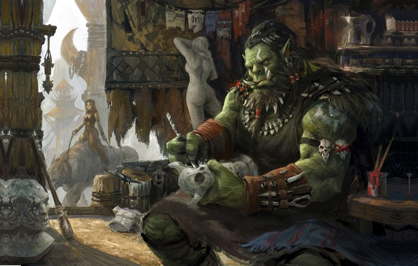 Picture fantasy, art, Orc, sculptor