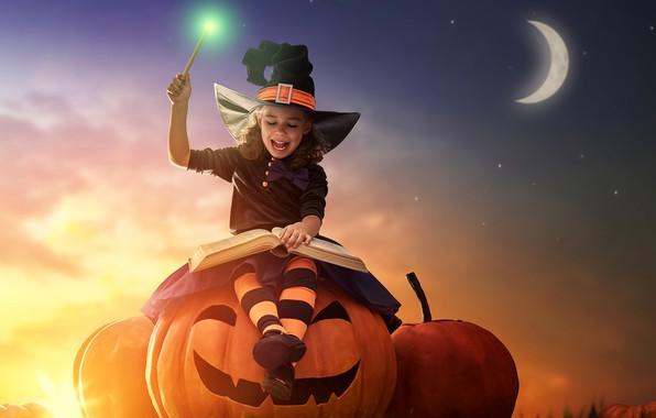 Picture the sky, magic, the moon, hat, girl, pumpkin, Halloween, book, holidays, halloween, pumpkin, little girls